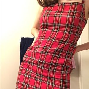 Small/ Petite Red Plaid Boohoo Mini Dress